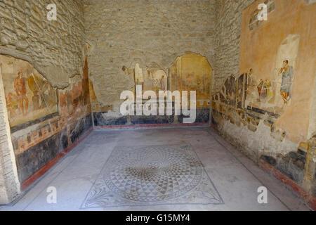 House of the Golden Cupids (Casa degli Amorini Dorati), Pompeii, UNESCO, the ancient Roman town near Naples, Campania - Stock Photo