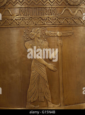 Mithra is the Zoroastrian divinity (yazata) of covenant and oath. He is also a judicial figure, an all-seeing protector - Stock Photo