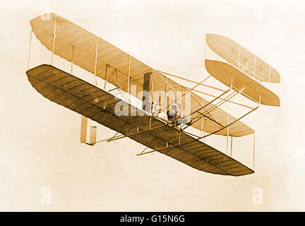 The Wright Flyer of 1908, with Orville Wright (1871-1948) at the controls. Orville and his brother Wilbur, owners - Stock Photo