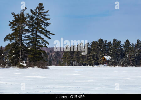 A Frozen Eagle Lake, Sundridge, Ontario, Canada - Stock Photo
