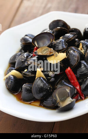 freshwater clam ceviche, marinated river clam, pickled asian clams, taiwan food appetizer - Stock Photo