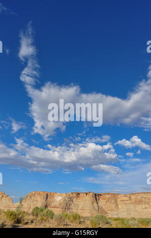 Rocky mountains in Utah with blue sky and clouds - Stock Photo