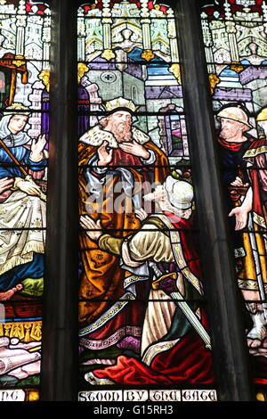 Stained glass Window in Church Stamford Lincs UK - Stock Photo