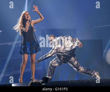 Stockholm, Sweden. 9th May. Lidia Isac performing 'Falling Stars' for Moldova. - Stock Photo