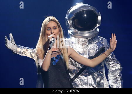 Stockholm, Sweden. 9th May, 2016. Singer Lidia Isac representing Moldova performs during the dress rehearsal for - Stock Photo