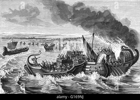 The Battle of Morbihan was a naval engagement between Roman and Veneti vessels on the Loire river, 56 BC. The Veneti - Stock Photo