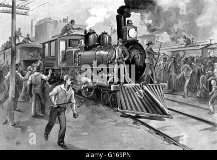 The Pullman Strike was a nationwide conflict in the summer of 1894 between the new American Railway Union (ARU) - Stock Photo