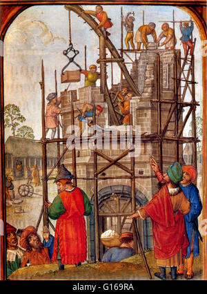 Illustration from a 15th century Flemish Book of Hours showing the building of the Tower of Babel. Note the inaccuracy - Stock Photo