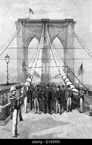 Engraving entitled: 'The Great bridge. President Arthur and his party crossing the suspended highway, 1883.' Chester - Stock Photo