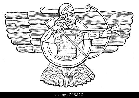 Ashur is an East Semitic god, and the head of the Assyrian pantheon in Mesopotamian religion, worshipped mainly - Stock Photo