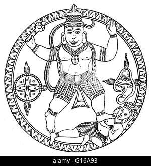 Hanuman, together with Ganesha and Garuda, is one of the three principal animal deities in the Hindu Mythology that - Stock Photo