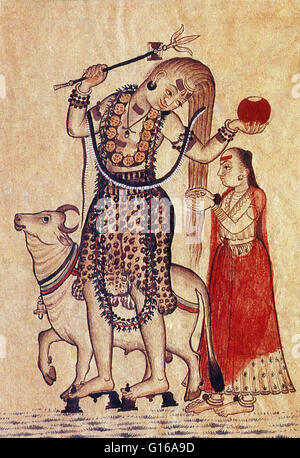 Shiva walking with bull Nandi followed by his consort Parvati. Shiva is a Hindu deity. He is considered the Supreme - Stock Photo