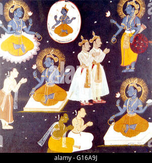 Vishnu worshipped in five manifestations from the Hindu text Vishnu Samabranahama. Vishnu is regarded as a major - Stock Photo