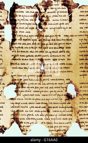 Scroll of Thanksgiving, a parchment from the Dead Sea Scrolls. - Stock Photo