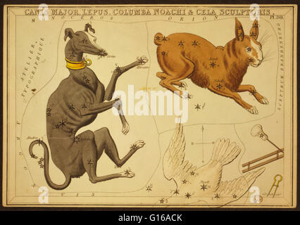 Astronomical chart showing a dog, a rabbit, Noah's dove, and sculpting tools forming the constellations. Canis Major - Stock Photo