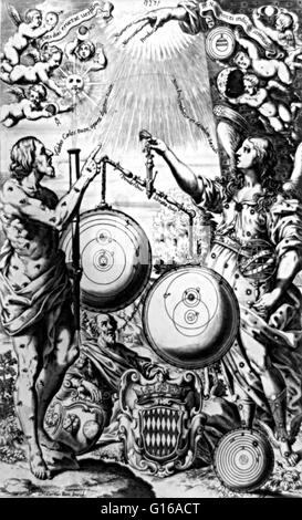 Riccioli's, Almagestum Novum (1651), depicting Urania, the muse of astronomy, weighing up the rival systems of Copernicus, - Stock Photo