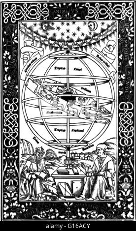 Frontispiece of Regiomontanus' 'Epitome of the Almagest' depicting Ptolemy and Regiomontanus sitting beneath an - Stock Photo
