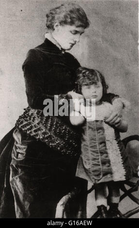 During Churchill's final illness, early photographs of his life were published: four year old Churchill held by - Stock Photo