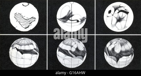 Top row first image: In 1659, the first sketch of Mars was drawn by the Dutch astronomer, Christiaan Huygens. He - Stock Photo