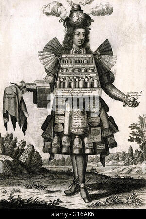 Engraving entitled: The Perfumer's Costume, by Nicolas de Larmessin (1638-1694) French engraver. The first modern - Stock Photo