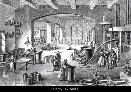 Engraving showing the interior of a perfume manufactory at Nice owned and operated by Eugène Rimmel. As with industry - Stock Photo