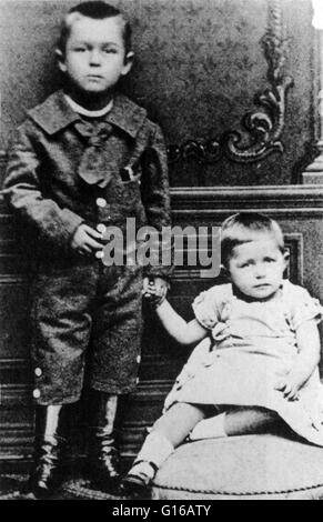 Undated photograph and Mann with his sister, Julia. Thomas Mann (June 6, 1875 - August 12, 1955) was a German novelist, - Stock Photo