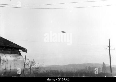 The McMinnville UFO photographs were taken on a farm near McMinnville, Oregon, in 1950. The photos were reprinted - Stock Photo