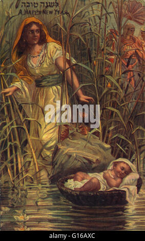 Print shows Miriam finding the infant Moses among the reeds. Hebrew Publishing Company, (between 1900 and 1920). - Stock Photo