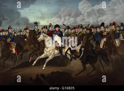 19th century illustration depicting Napoleon surrounded by the most celebrated generals of his time. Napoleon Bonaparte - Stock Photo