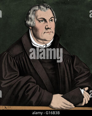 Portrait of Martin Luther (1483-1546), German priest, professor of theology and a major figure of the Protestant - Stock Photo