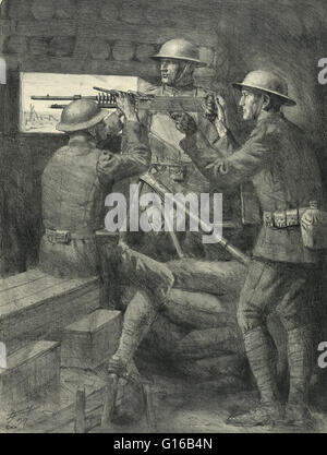 Entitled: A machine gun emplacement in the old Verdun trenches. Sketch of soldiers aiming a machine gun through - Stock Photo