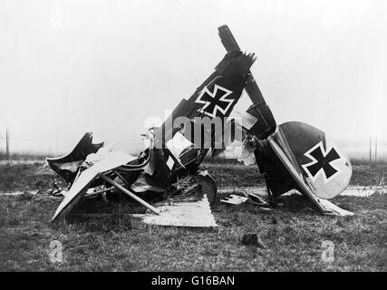 Wreckage of a German Albatross D. III fighter biplane. On rudder of plane: 'O.A.W. D.3' for the manufacturer Ostdeutsche - Stock Photo