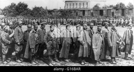 Large group of Russian soldiers captured in Galicia. The Battle of Galicia was a major battle between Russia and - Stock Photo
