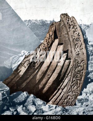 The Oseberg ship is a well-preserved Viking ship discovered in a large burial mound at the Oseberg farm in Norway. - Stock Photo