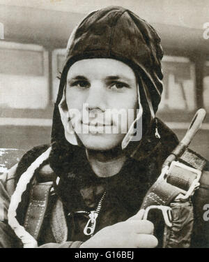 Yuri Alekseyevich Gagarin (March 9, 1934 - March 27, 1968) was a Soviet pilot and cosmonaut. After graduating from a technical school in 1955, he was drafted by the Soviet Army and sent to the First Chkalov Air Force Pilot's School. In 1960, after much se Stock Photo