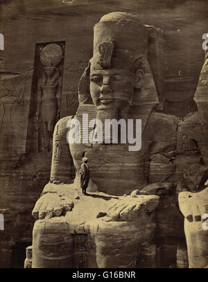 Entitled: 'Abou Simbel'. The Abu Simbel temples are two massive rock temples in Abu Simbel in Nubia, southern Egypt. - Stock Photo