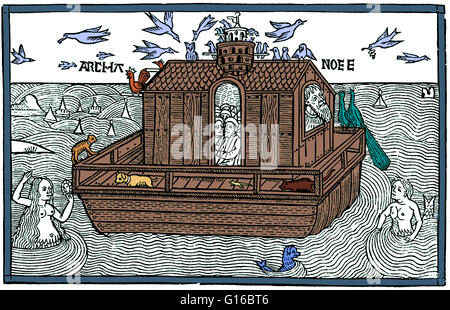 Color enhancement of a woodcut of Noah's Ark with merfolk from the Nuremberg Chronicle, 1493. Noah was the tenth - Stock Photo