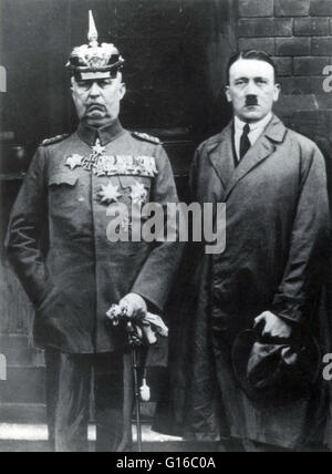 Hitler with Ludendorff around the time of Beer Hall Putsch Trial. The Beer Hall Putsch was a failed attempt by the - Stock Photo