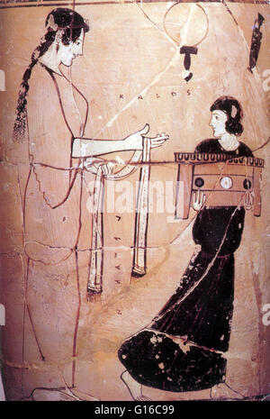 Greek White Ground Lekythos, Detail of Woman with Maid, 460 BC. Because of its relative durability, pottery comprises - Stock Photo