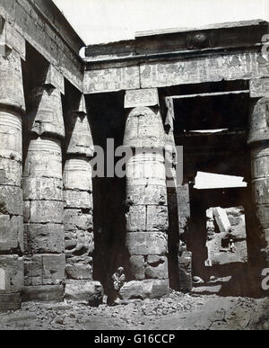 Interior of the Temple of Ramses IV in Thebes, photographed by Maison Bonfils, circa 1867-1885. Ramesses IV was - Stock Photo