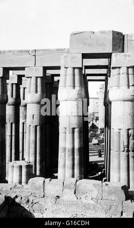Luxor Temple is a large Ancient Egyptian temple complex located on the east bank of the Nile River in the city today - Stock Photo