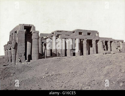 Remains of temple of Ramses II, photographed by Maison Bonfils, circa 1867-1885. The Ramesseum is the memorial temple - Stock Photo