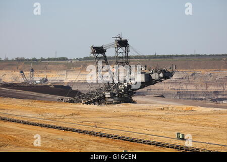 Bucket wheel excavator in open pit mine Garzweiler II in Germany - Stock Photo