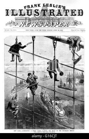 Illustration from Frank Leslie's newspaper entitled: 'Completing a great work lashing the stays of the Brooklyn - Stock Photo