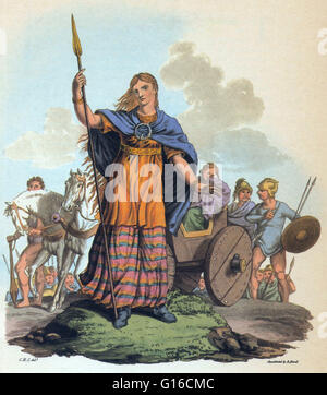 Boudica (died 60 or 61 AD) was queen of the British Iceni tribe, a Celtic tribe who led an uprising against the - Stock Photo