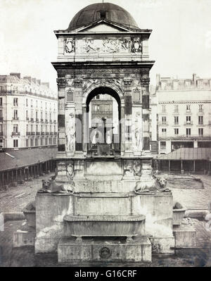The Fontaine des Innocents as installed at the Marché des Innocents in Paris, just prior to one of its several relocations - Stock Photo
