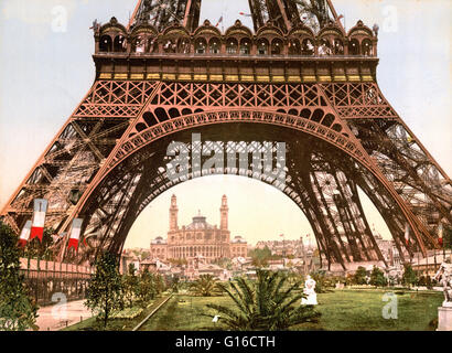 Eiffel Tower and the Trocadero, Exposition Universal. The Exposition Universelle of 1900 was a world's fair held - Stock Photo