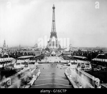 View of the Eiffel Tower and exposition buildings on the Champ de Mars as seen from Trocadéro Palace, Paris Exposition, - Stock Photo