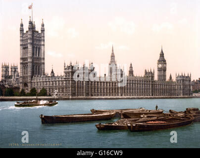 Houses of Parliament from the river, London, England. The Palace of Westminster is the meeting place of the House - Stock Photo