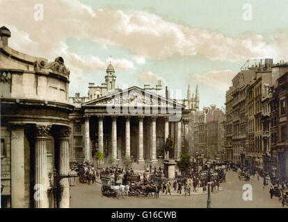The Royal Exchange in London was founded in the 16th century by the merchant Thomas Gresham to act as a center of - Stock Photo
